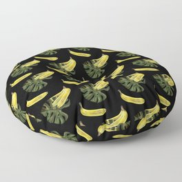Bananas and Monstera - Black Floor Pillow