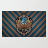 ravenclaw Area & Throw Rugs featuring Hogwarts House Crest - Ravenclaw Book by Teo Hoble