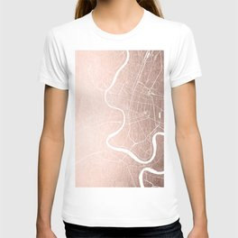 Bangkok Thailand Minimal Street Map - Rose Gold Pink and White II T-shirt