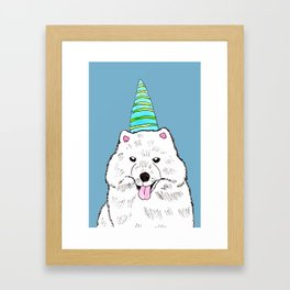 Samoyed with Party Hat Framed Art Print