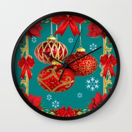TEAL COLOR RED CHRISTMAS  ORNAMENTS &  POINSETTIAS FLOWER Wall Clock