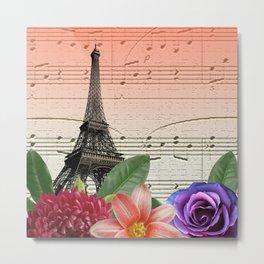 Flowers & Music in Paris Metal Print
