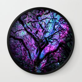 Mystic Tree of Knowledge Pink & Blue Wall Clock
