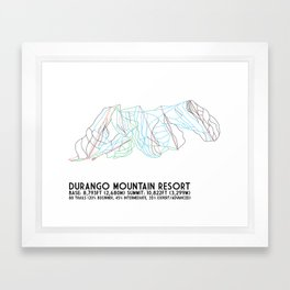 Durango Mountain Resort, CO - Minimalist Trail Art Framed Art Print