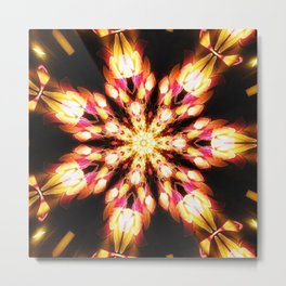 Golden Fire Snowflake Metal Print
