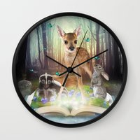 roald dahl Wall Clocks featuring Believe In Magic • (Bambi Forest Friends Come to Life) by soaring anchor designs