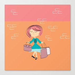 she shops  Canvas Print