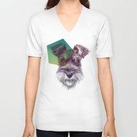 schnauzer V-neck T-shirts featuring Schnauzer by MOSAICOArteDigital