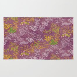 Japanese pattern floral purple Rug
