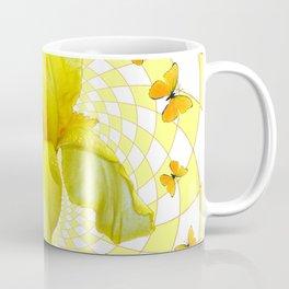 YELLOW BUTTERFLIES & YELLOW IRIS WHITE PATTERN ART Coffee Mug