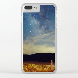Milky Way Star Night Sky Over Wheat Field Magical Landscape Clear iPhone Case