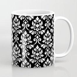 Feuille Damask Pattern White on Black Coffee Mug
