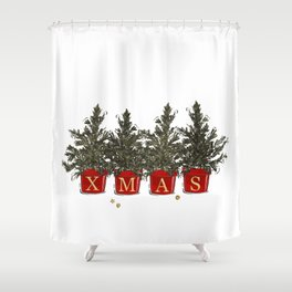 Merry Christmas tree pods Shower Curtain