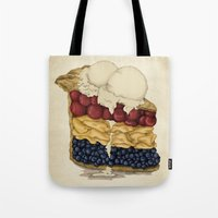 pie Tote Bags featuring American Pie by Megs stuff