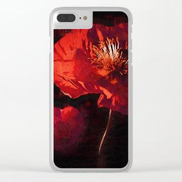 Two Deep Red Poppies Clear iPhone Case