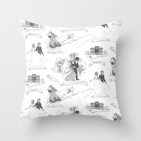 pride and prejudice Throw Pillows featuring Pride and Prejudice Toile by Aimee Steinberger