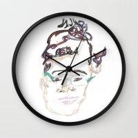 beth hoeckel Wall Clocks featuring beth by Sadie Padial