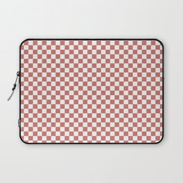 Small Camellia Pink and White Checkerboard Square Pattern Laptop Sleeve