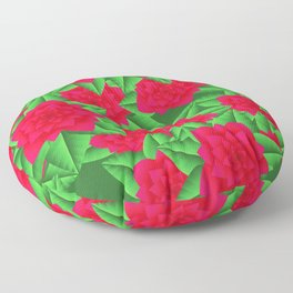 Dark Red Camellias and Green Leaves Floor Pillow