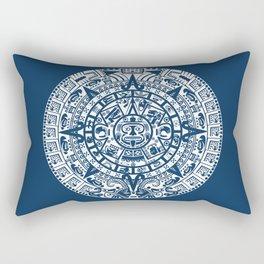 Mayan Calendar // Navy Blue Rectangular Pillow