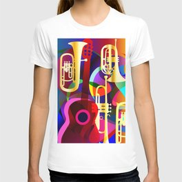 Colorful music instruments with guitar, trumpet, musical notes, bass clef and abstract decor T-shirt