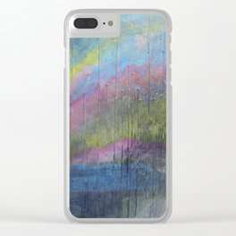Surprise Valley colorful mixed media abstract landscape Clear iPhone Case
