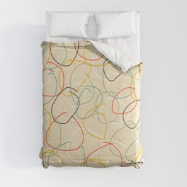 Bright Classic Freehand Abstract Minimal Retro Style Crooked Circles #1 Comforters