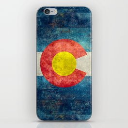Colorado State Flag in Vintage Grunge iPhone Skin