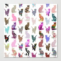aelwen Canvas Prints featuring Girly Whimsical Cats aztec floral stripes pattern by Girly Trend