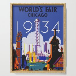 1934 Chicago World's Fair Travel Poster Serving Tray