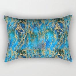 Blue and Gold Swirls Rectangular Pillow