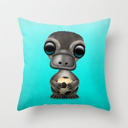 Cute Baby Platypus With Football Soccer Ball Throw Pillow
