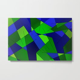ABSTRACT LINES #1 (Blues & Greens) Metal Print