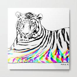 Tiger, glitched Metal Print