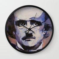edgar allan poe Wall Clocks featuring Edgar Allan Poe by Michael Creese