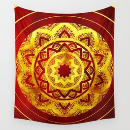 RED AND GOLD MANDALA FLOWER Wall Tapestry