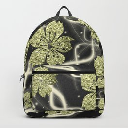 painting asian shiny silver in white and black blossom Backpack