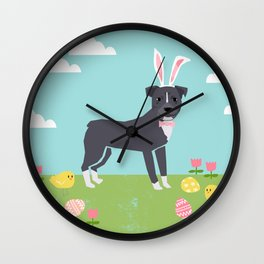 Pitbull easter eggs easter spring dog breed pibble rescue dog portrait Wall Clock