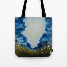 Sky Break, Skyscape, Landscape, Field of Flowers, Wild Flowers Tote Bag