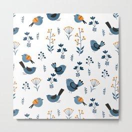 Modern Birds Pattern Metal Print