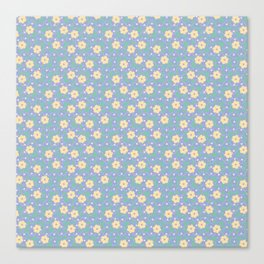 Yellow Flower Pattern with Blue Ornamental Background Canvas Print
