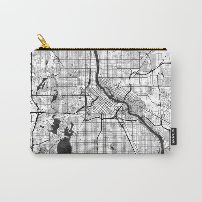 Minneapolis Map Gray Carry-All Pouch