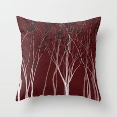 Crimson Night Forest Throw Pillow
