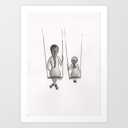 Mother&Daughter 3b Swings Art Print