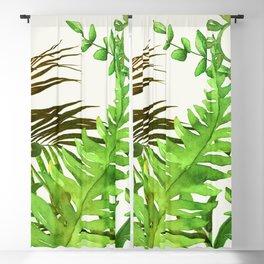 Watercolor Plants Blackout Curtain