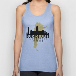 BUENOS AIRES ARGENTINA SILHOUETTE SKYLINE MAP ART Unisex Tank Top