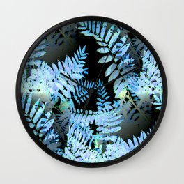 Seamless Blue Leaves Wall Clock