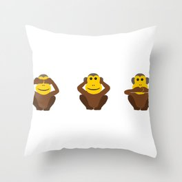 See No Evil Hear No Evil Speak No Evil Monkeys Throw Pillow