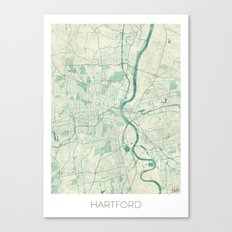 Hartford Map Blue Vintage Canvas Print