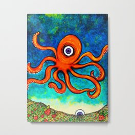 Octopus's Garden Of Hearts Metal Print